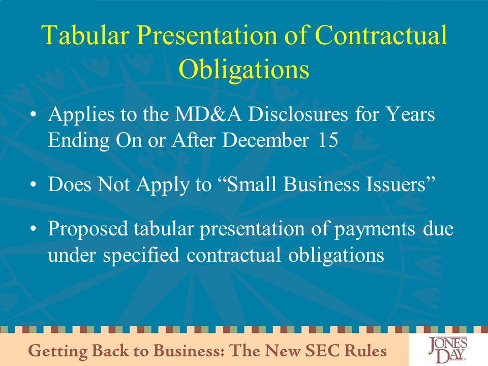 Tabular Presentation of Contractual Obligations