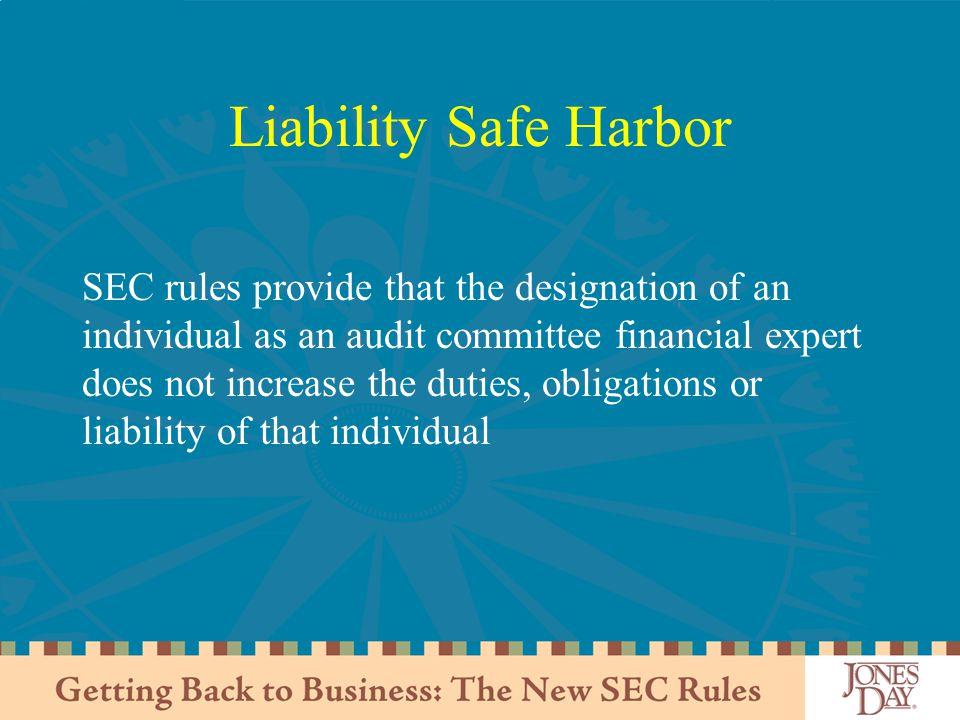 Liability Safe Harbor