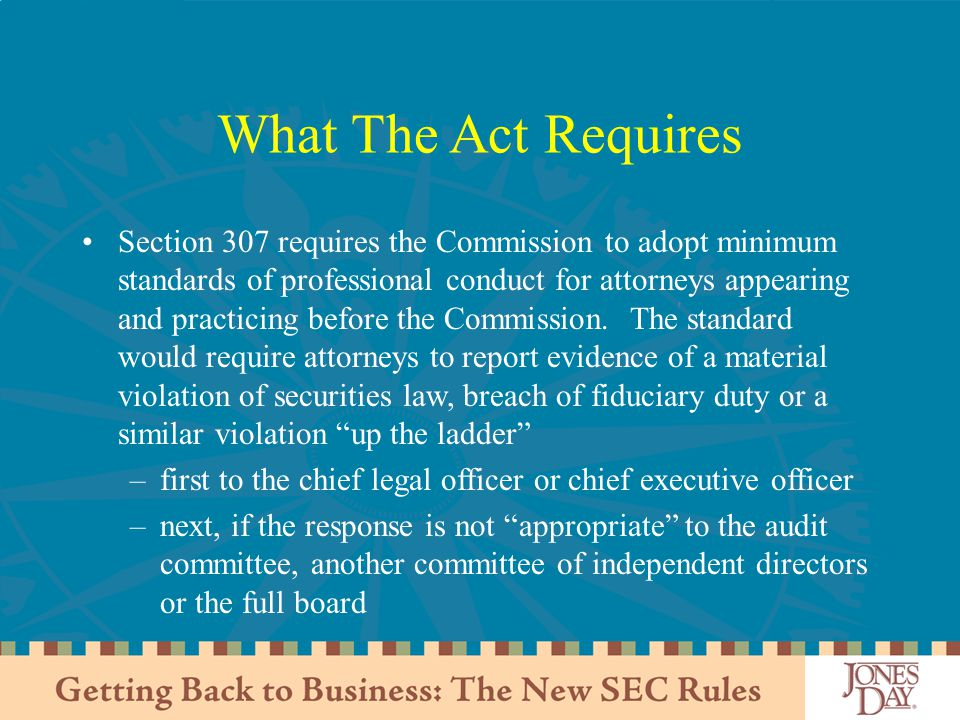 What The Act Requires
