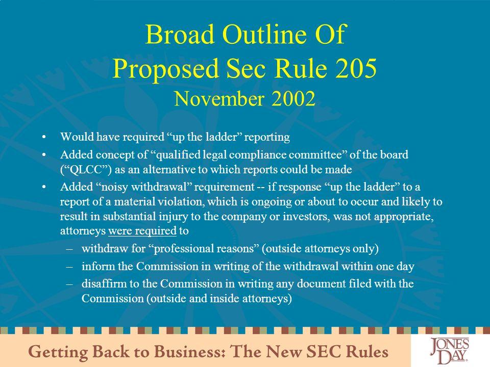 Broad Outline Of Proposed Sec Rule 205 November 2002