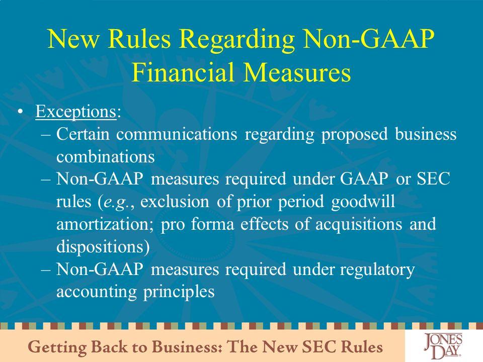 New Rules Regarding Non-GAAP Financial Measures