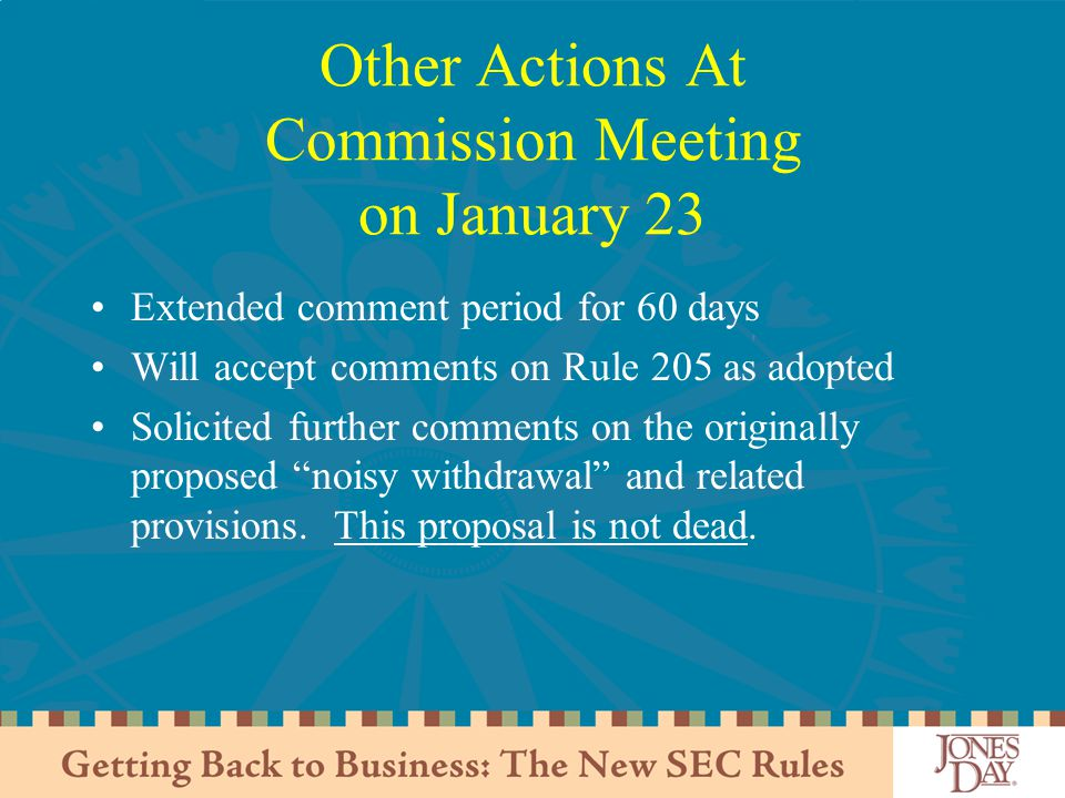 Other Actions At Commission Meeting on January 23