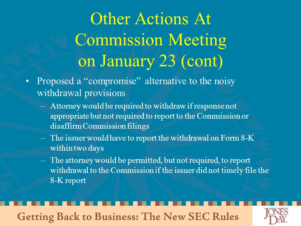 Other Actions At Commission Meeting on January 23 (cont)