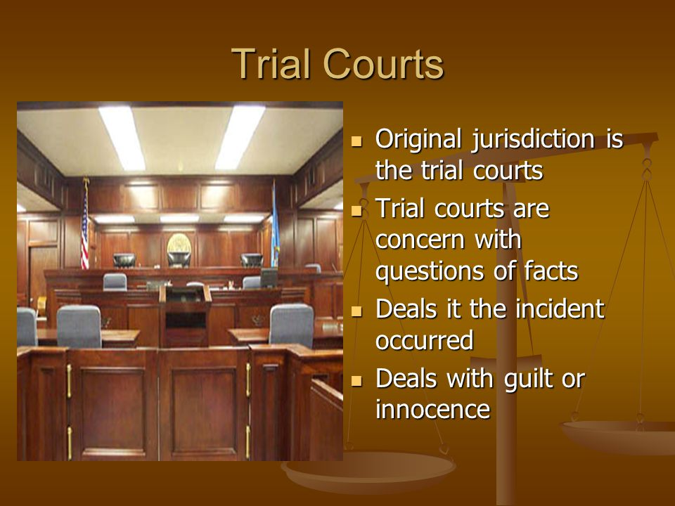 Trial Courts Original jurisdiction is the trial courts