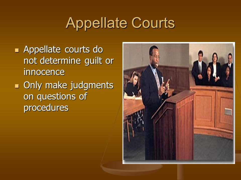 Appellate Courts Appellate courts do not determine guilt or innocence
