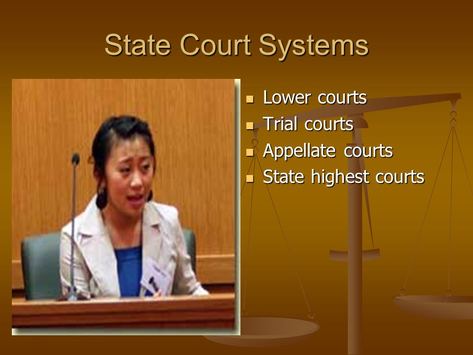 State Court Systems Lower courts Trial courts Appellate courts
