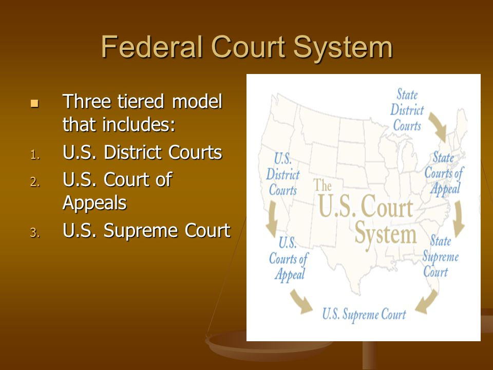 Federal Court System Three tiered model that includes: