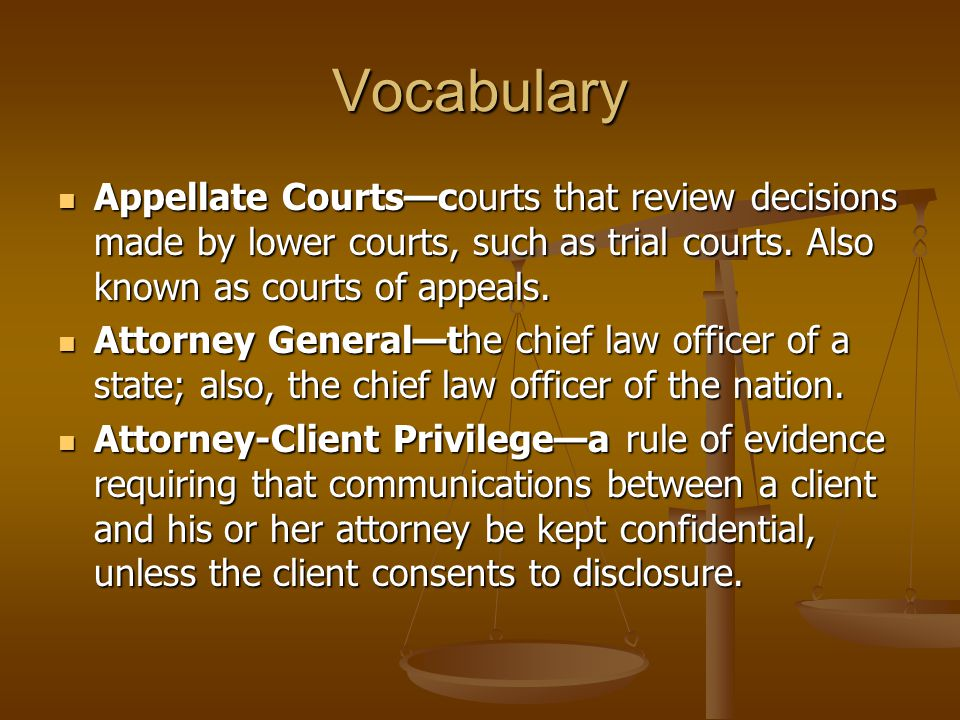 Vocabulary Appellate Courts—courts that review decisions made by lower courts, such as trial courts. Also known as courts of appeals.