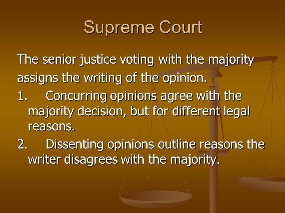 Supreme Court The senior justice voting with the majority