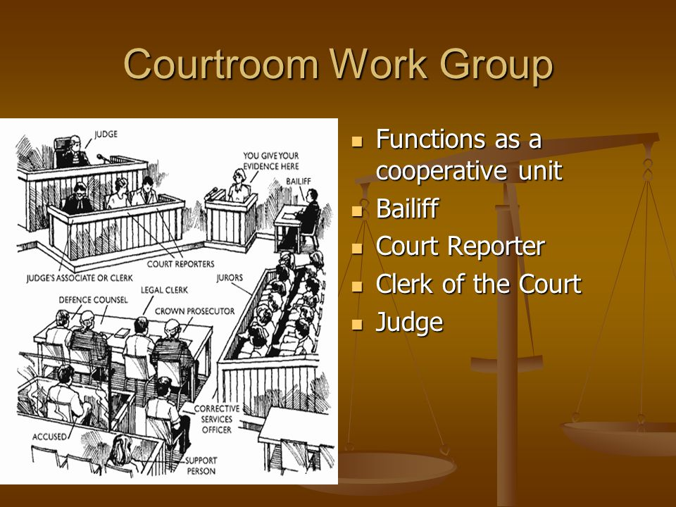 Courtroom Work Group Functions as a cooperative unit Bailiff