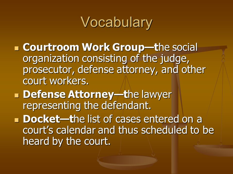 Vocabulary Courtroom Work Group—the social organization consisting of the judge, prosecutor, defense attorney, and other court workers.