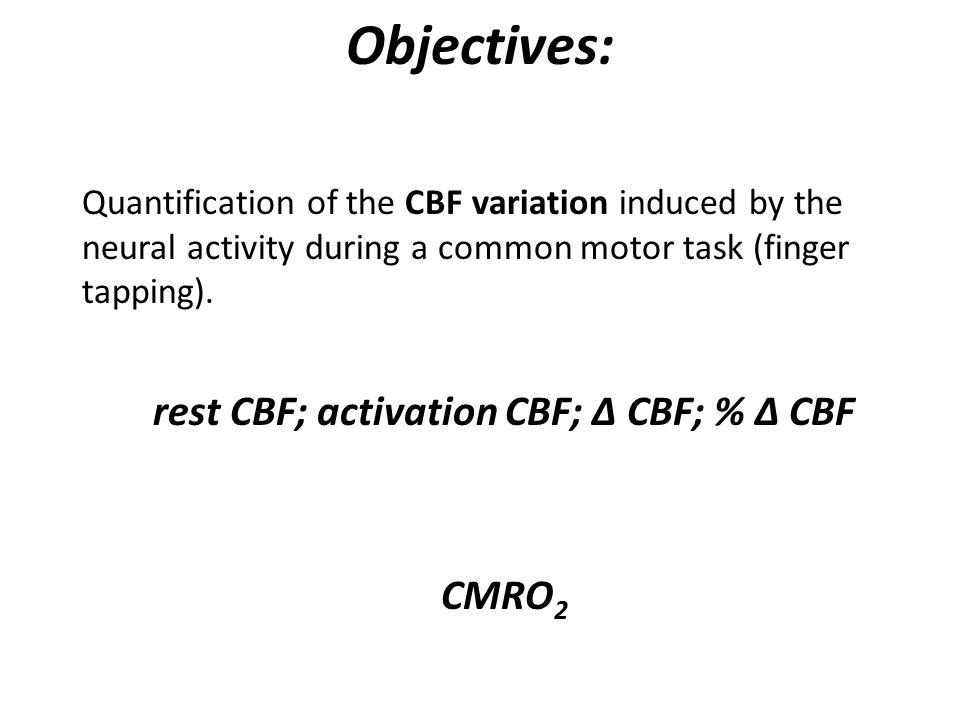 rest CBF; activation CBF; Δ CBF; % Δ CBF