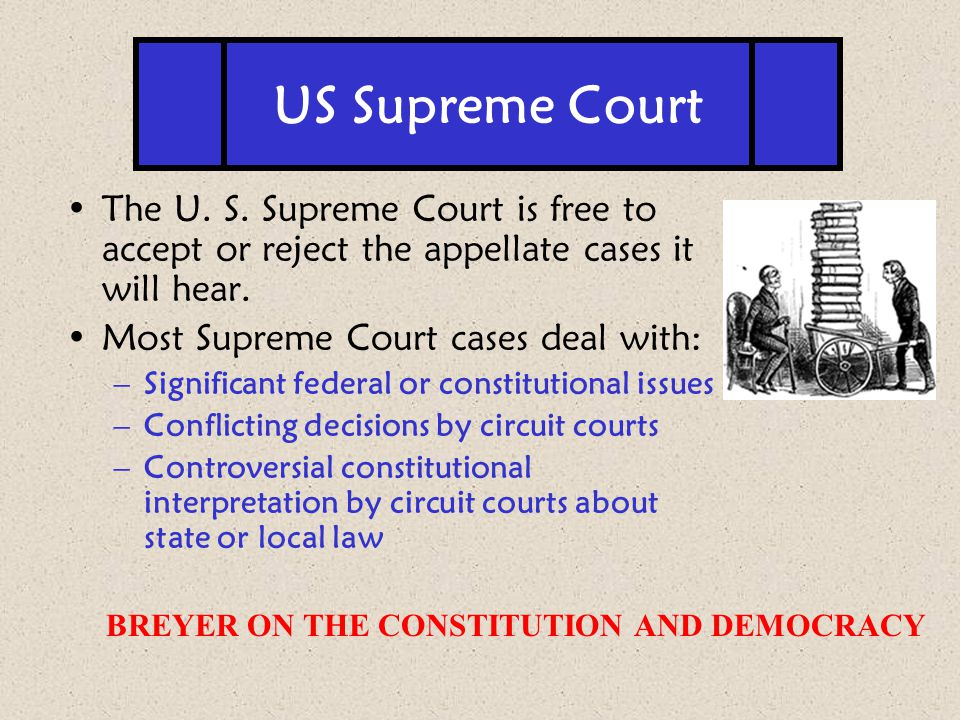 US Supreme Court The U. S. Supreme Court is free to accept or reject the appellate cases it will hear.