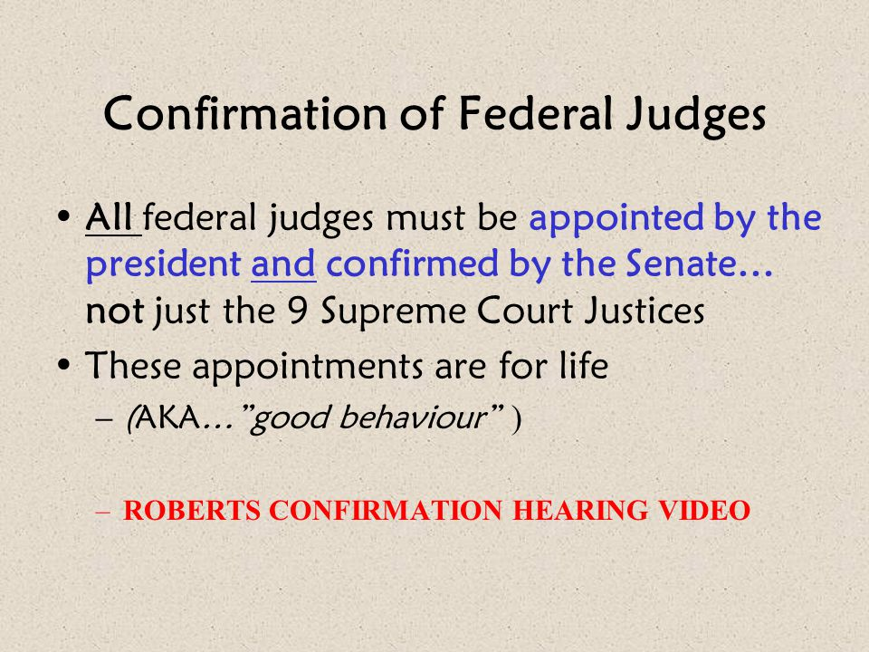 Confirmation of Federal Judges