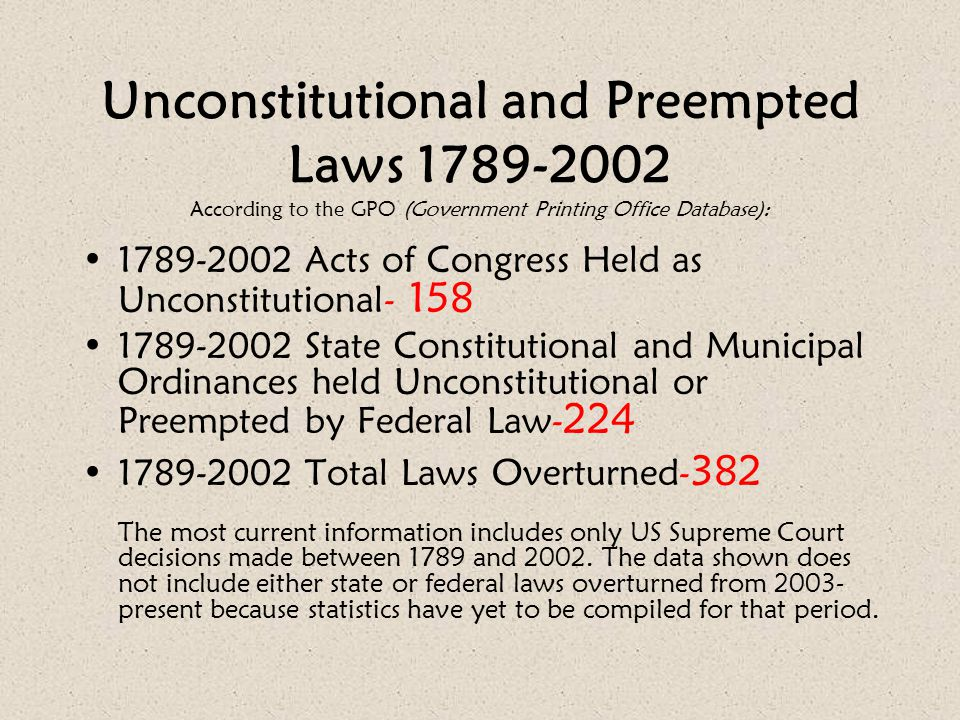 Unconstitutional and Preempted Laws 1789-2002 According to the GPO (Government Printing Office Database):