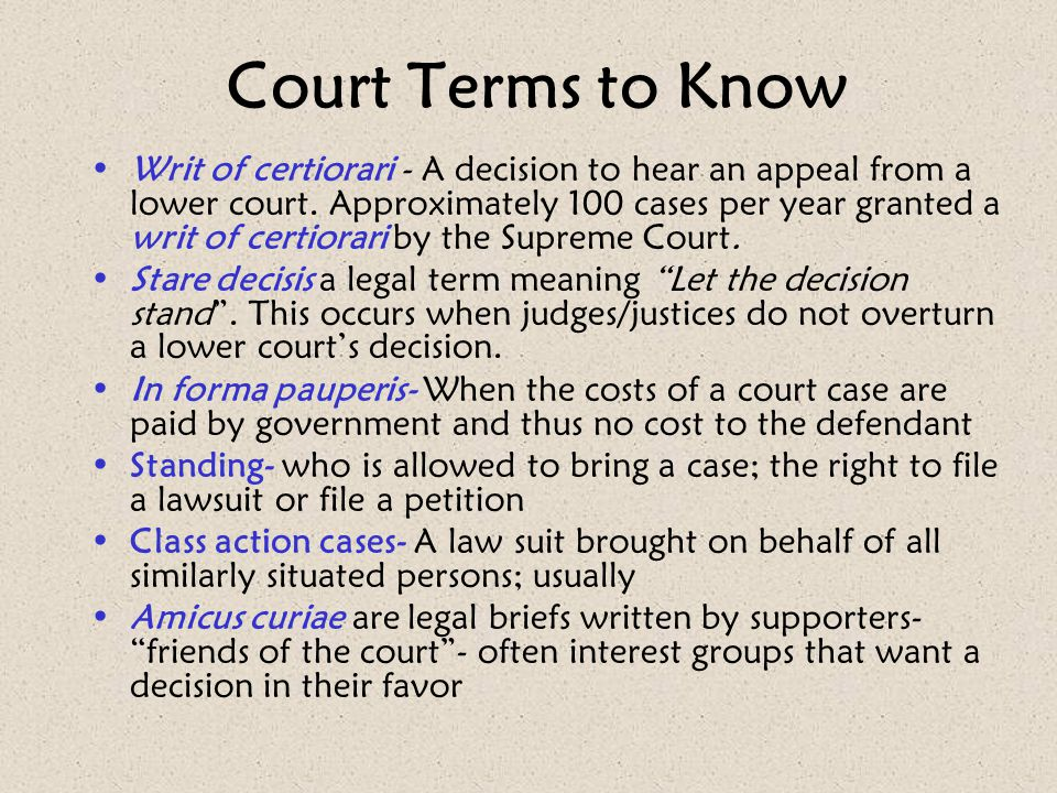 Court Terms to Know