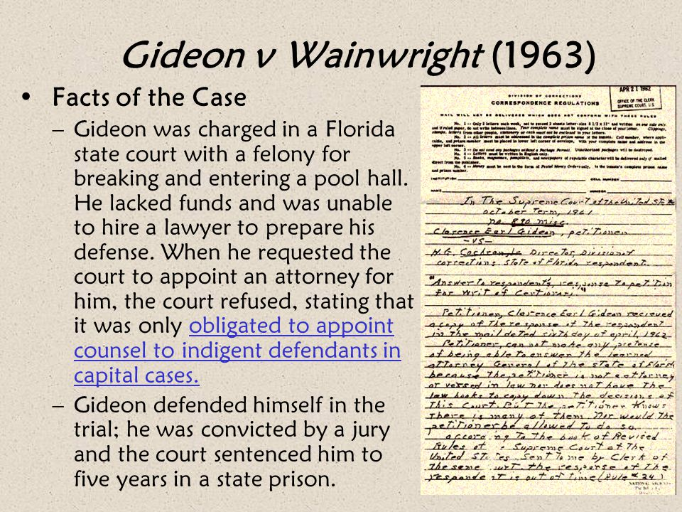 Gideon v Wainwright (1963) Facts of the Case