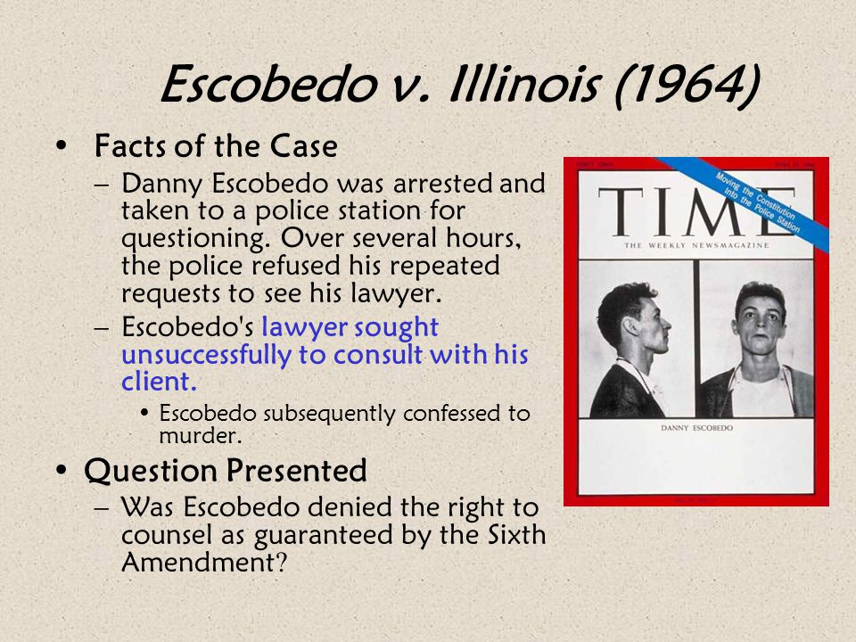 Escobedo v. Illinois (1964) Facts of the Case Question Presented