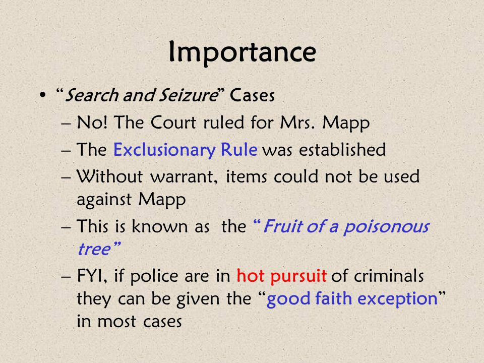 Importance Search and Seizure Cases