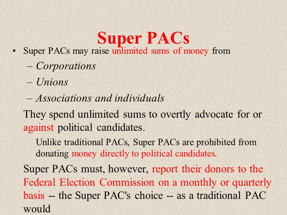 Super PACs Corporations Unions Associations and individuals