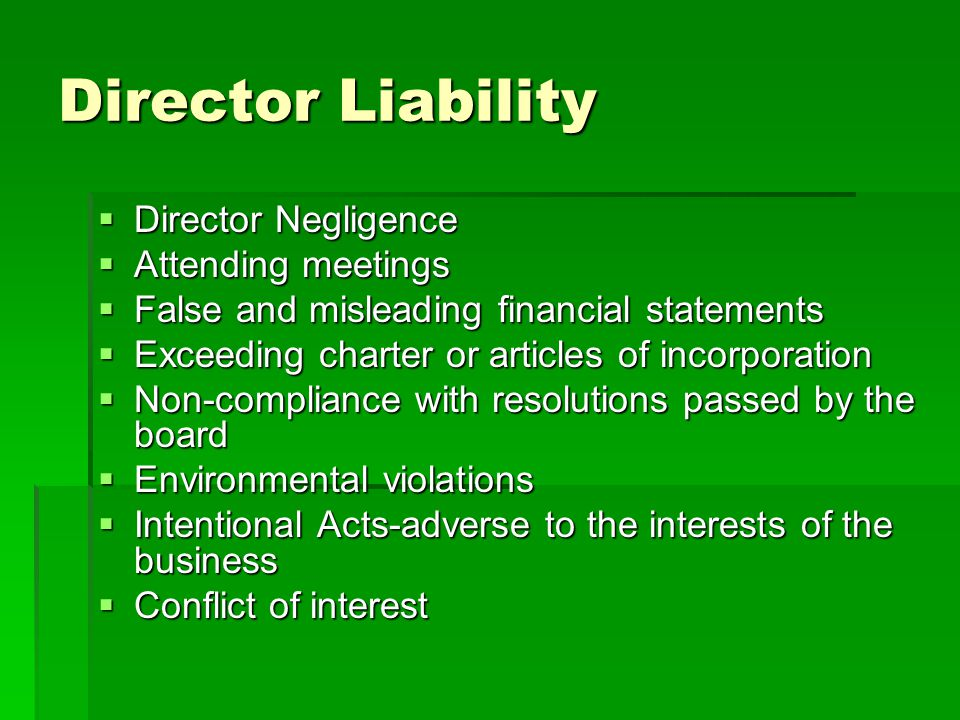 Director Liability Director Negligence Attending meetings