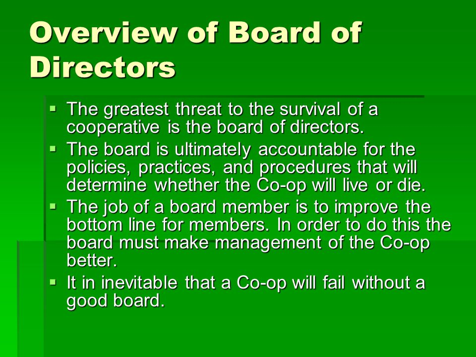 Overview of Board of Directors