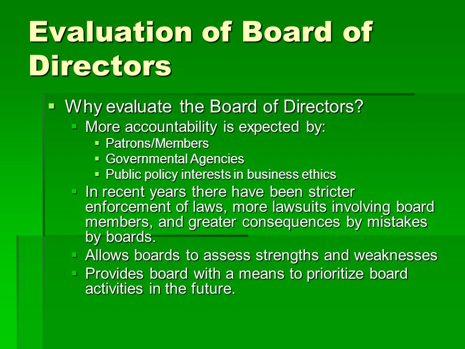Evaluation of Board of Directors