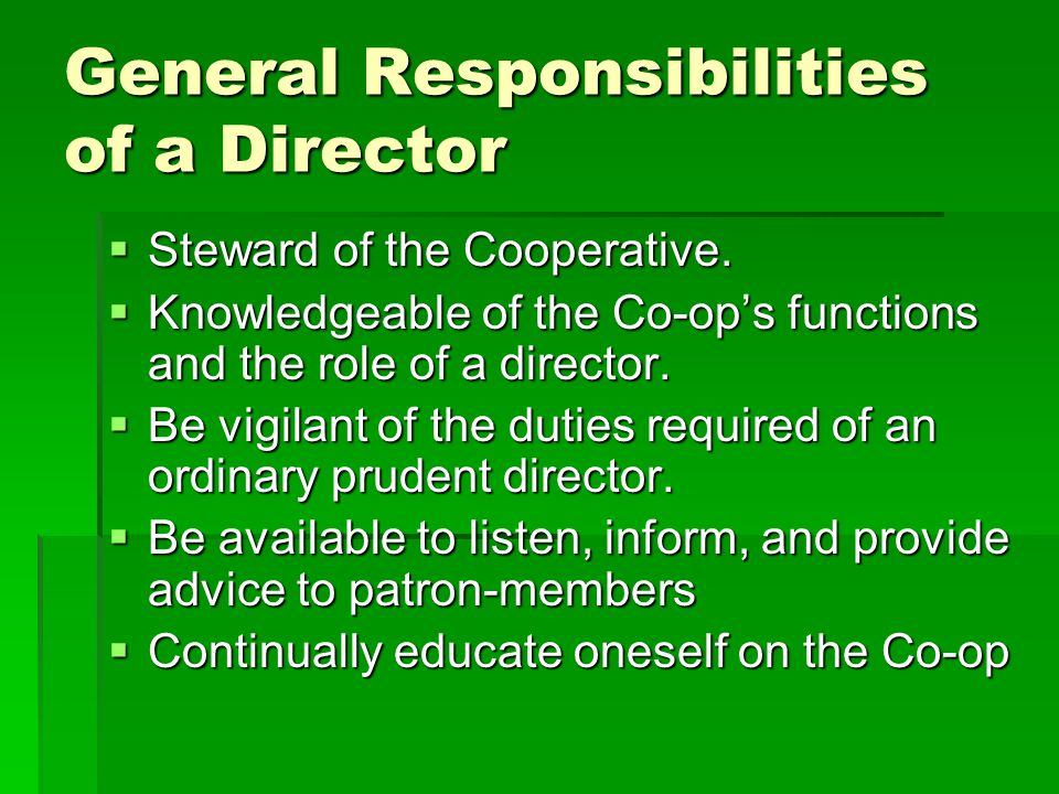 General Responsibilities of a Director