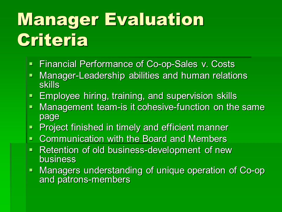 Manager Evaluation Criteria