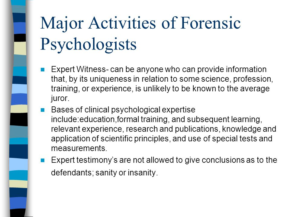 Major Activities of Forensic Psychologists