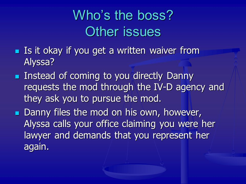 Who's the boss Other issues