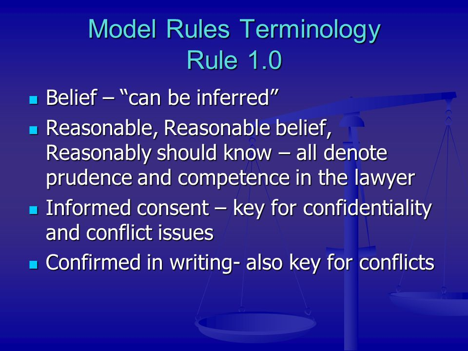 Model Rules Terminology Rule 1.0