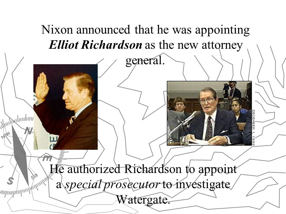 Nixon announced that he was appointing Elliot Richardson as the new attorney general.