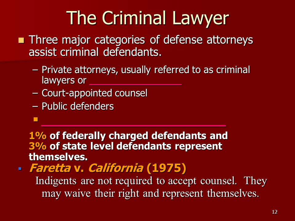 The Criminal Lawyer Three major categories of defense attorneys assist criminal defendants.