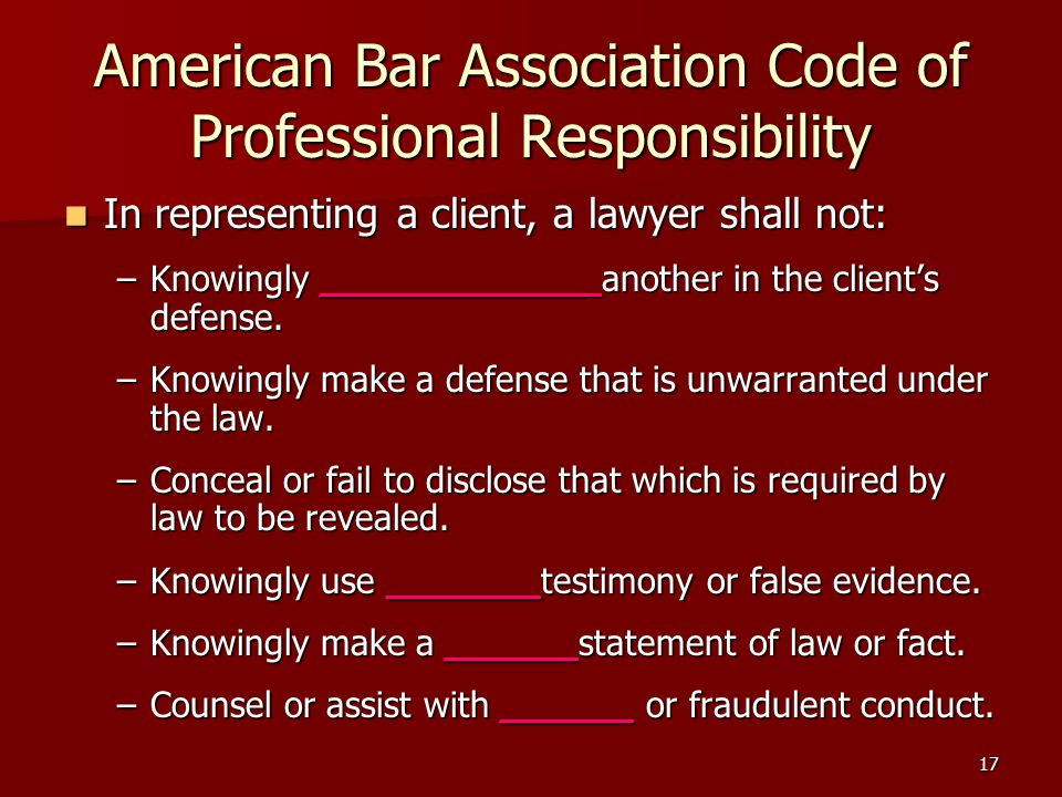 American Bar Association Code of Professional Responsibility