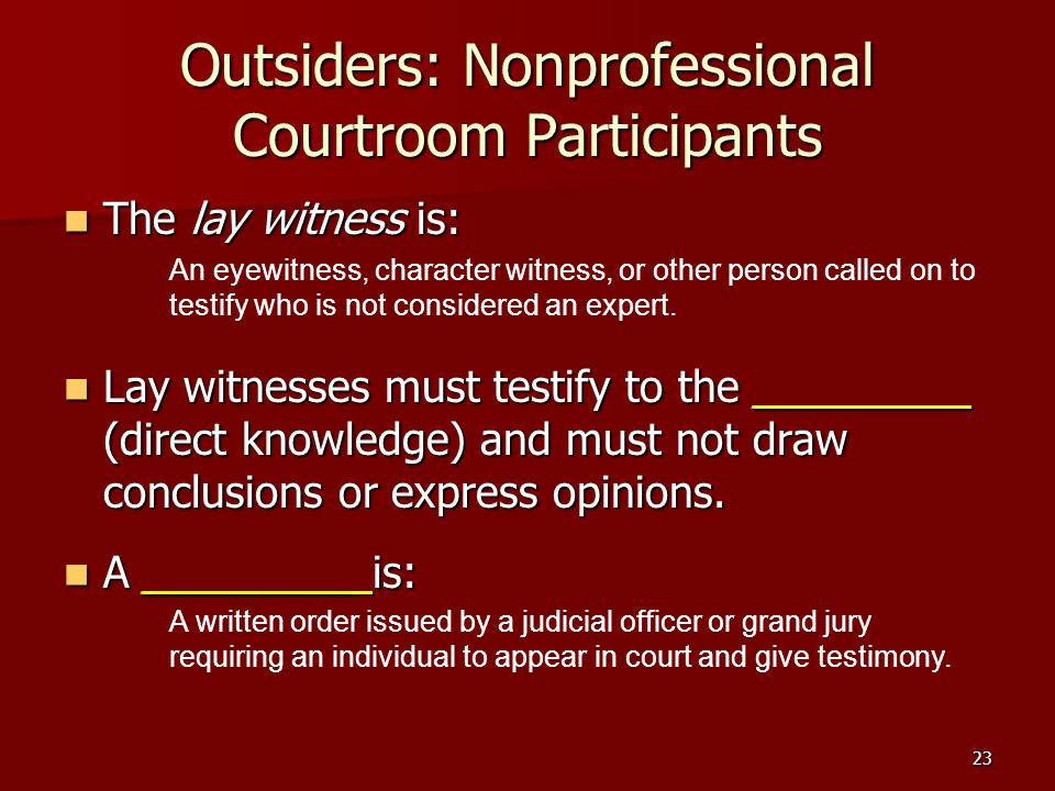 Outsiders: Nonprofessional Courtroom Participants