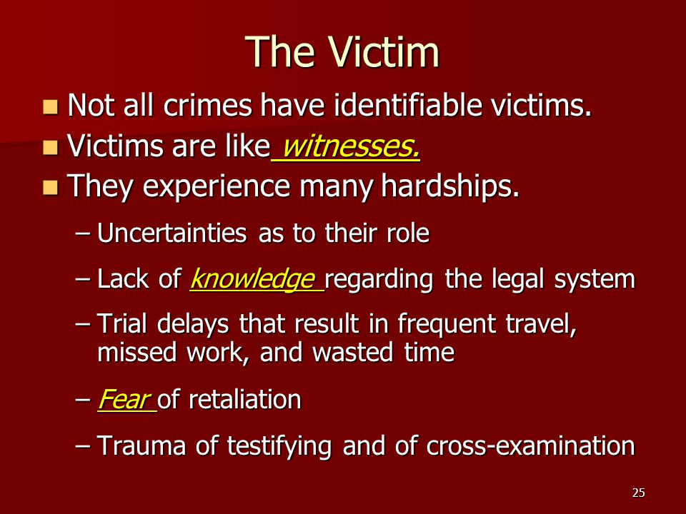 The Victim Not all crimes have identifiable victims.
