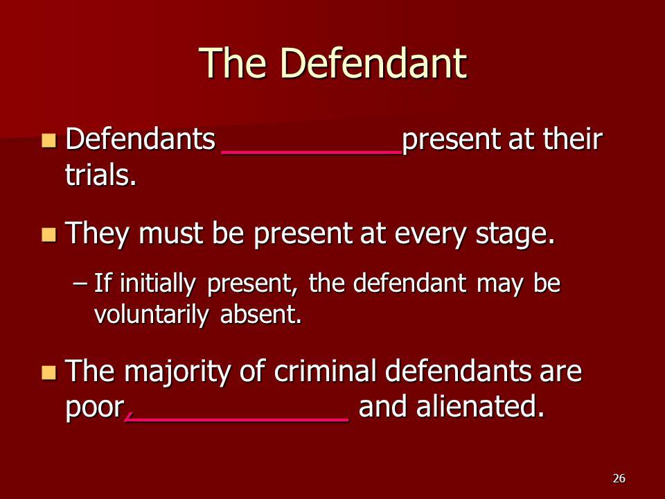The Defendant Defendants _________ present at their trials.