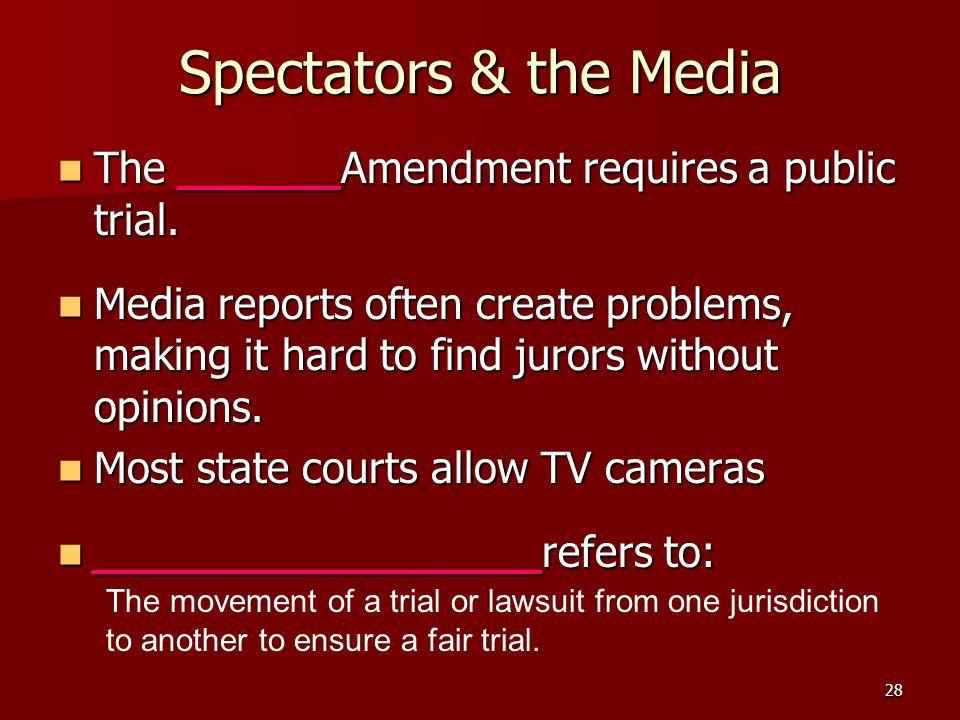 Spectators & the Media The ______Amendment requires a public trial.