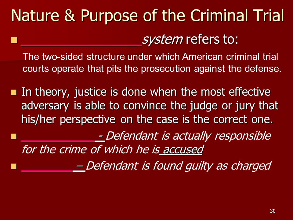 Nature & Purpose of the Criminal Trial