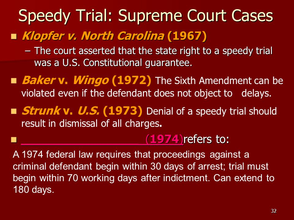 Speedy Trial: Supreme Court Cases