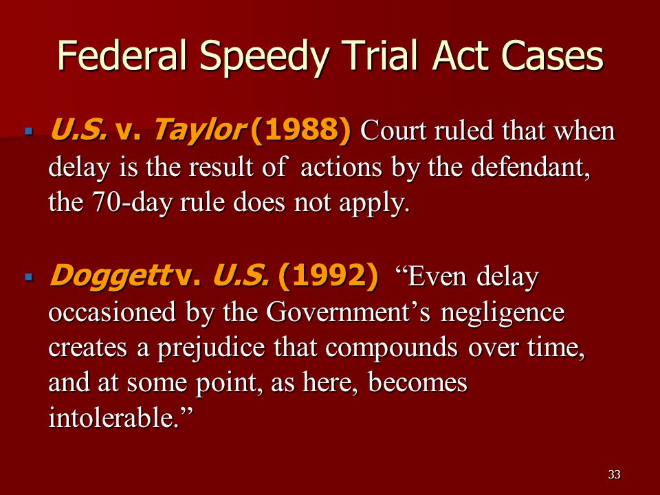 Federal Speedy Trial Act Cases