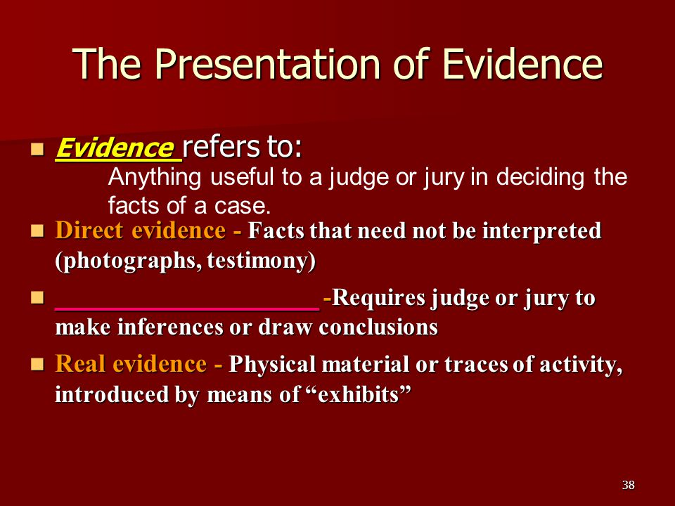The Presentation of Evidence