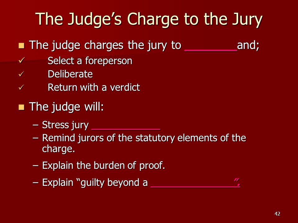 The Judge's Charge to the Jury
