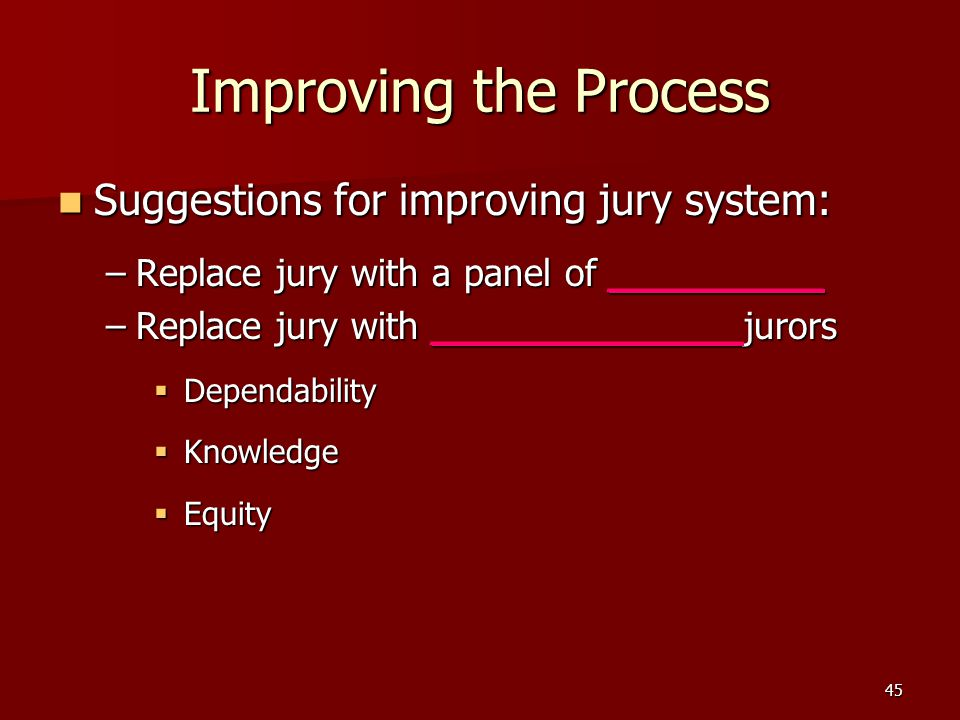 Improving the Process Suggestions for improving jury system: