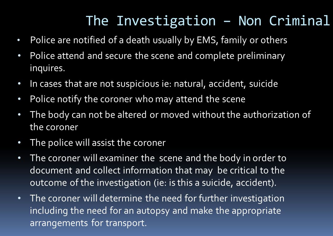 The Investigation – Non Criminal