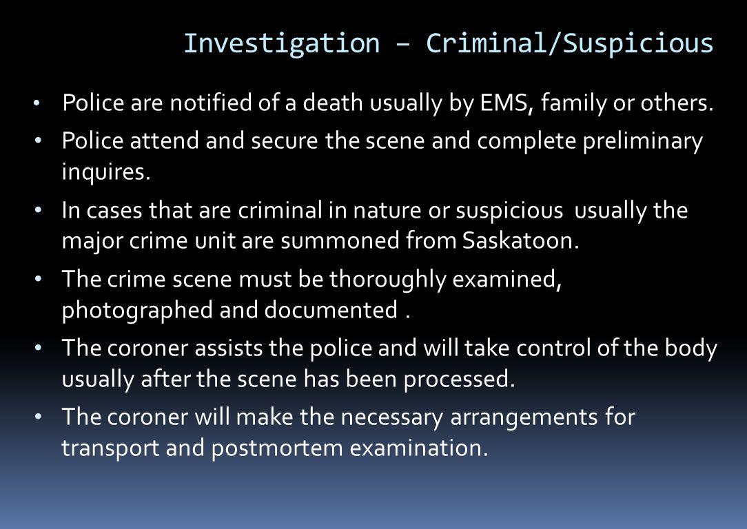 Investigation – Criminal/Suspicious