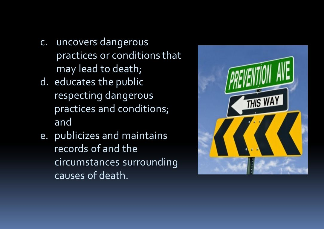 uncovers dangerous practices or conditions that may lead to death;