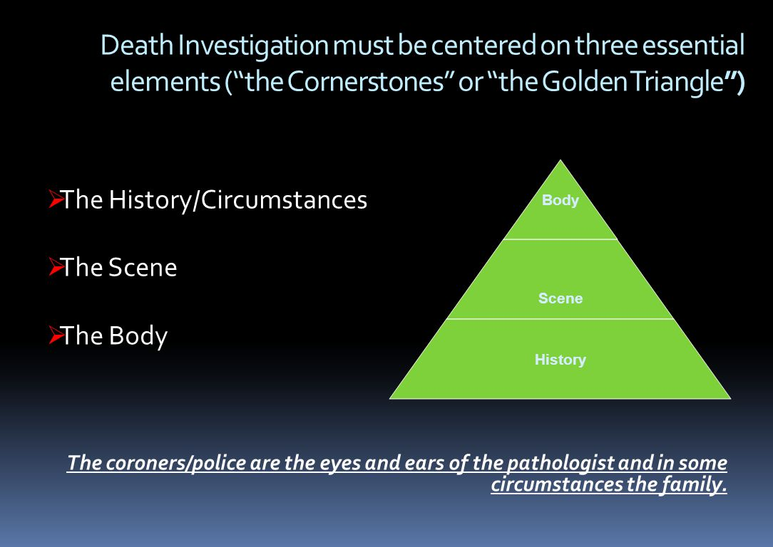 Death Investigation must be centered on three essential elements ( the Cornerstones or the Golden Triangle )