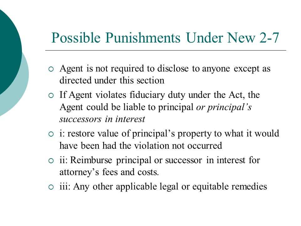 Possible Punishments Under New 2-7